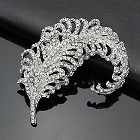 baratos Jóias-Mulheres Prata Broches 3D Zircônia Cubica Prateado Broche Jóias Branco Para Negócio / Cerimônia / Casamento