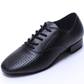 voordelige Dansschoenen-Aanpasbaar Heren Latin Danssneakers Leer Platte schoenen Beginner Binnenshuis Platte hak Zwart Onder 2,5 cm