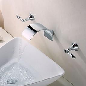 billige Ugentlige tilbud-Baderom Sink Tappekran - Foss Krom Vægmonteret To Håndtak tre hullBath Taps / Messing