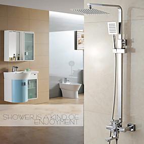 povoljno Slavine-Slavina za tuš - Suvremena Chrome Središnje pozicionirane Keramičke ventila Bath Shower Mixer Taps / Brass / Jedan obrađuju dvije rupe