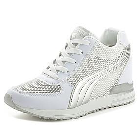 baratos Sapatos Esportivos Femininos-Mulheres Tênis Plataforma Ponta Redonda Cadarço Tule Caminhada Verão Preto / Branco / Rosa claro