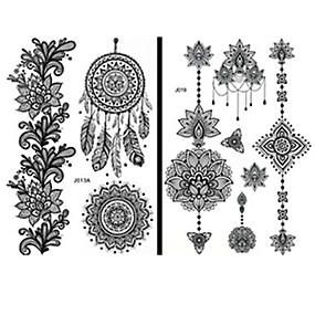 voordelige tattoo stickers-15 pcs Tatoeagestickers Tijdelijke tatoeages Totem Series / Bloemen Series Waterbestendig / Kant / Non Toxic Lichaamskunst Gezicht / handen / brachium / Patroon / Onderrrug / Waterproof