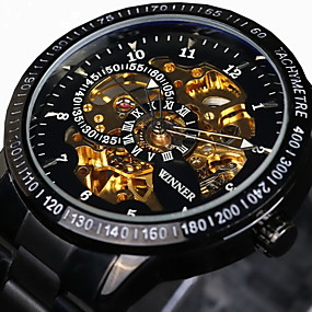 お買い得  在庫一掃-WINNER 男性用 スケルトン腕時計 リストウォッチ 機械式時計 自動巻き ステンレス ブラック / シルバー 30 m 耐水 透かし加工 光る ハンズ ぜいたく ヴィンテージ - ブラック ゴールドとブラック シルバーとブラック / 速度計