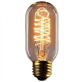 billige Glødelampe-1pc 40W E26 / E27 T45 Varm hvit 2300k Kontor / Bedrift Mulighet for demping Dekorativ Glødende Vintage Edison lyspære 220-240V