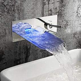 billige Ugentlige tilbud-Moderne Vægmonteret Foss LED Keramisk Ventil To Huller Enkelt håndtak To Huller Krom , Baderom Sink Tappekran
