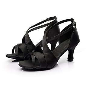 povoljno Klasična kolekcija plesnih cipela-Žene Svila Cipele za latino plesove / Cipele za salsu Kopča Sandale Potpetica po mjeri Moguće personalizirati Crna / Crvena / Smeđa / Brušena koža / EU40