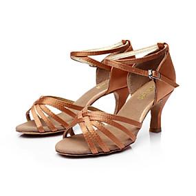 abordables Chaussures de Danse-Femme Chaussures de danse Cuir PU / Satin Chaussures Latines / Chaussures de Salsa Boucle Sandale Talon Personnalisé Personnalisables Argenté / Marron / Doré / EU40