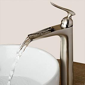 billige Ugentlige tilbud-Baderom Sink Tappekran - Foss Nikkel Børstet Centersat Enkelt Håndtak Et HullBath Taps