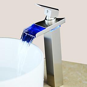 abordables Offres de la Semaine-Robinet lavabo - LED Nickel brossé Set de centre Mitigeur un trouBath Taps