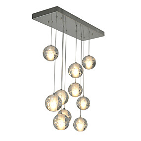 cheap Pendant Lights-10-Light Cluster Pendant Light Ambient Light Chrome Metal Crystal 90-240V Bulb Included / G4