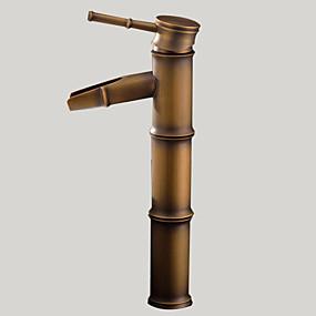 hesapli İndirim Musluklar-Banyo Lavabo Bataryası - Şelale Antik Pirinç Lavabo Teknesi Tek Delik / Tek Kolu Bir DelikBath Taps