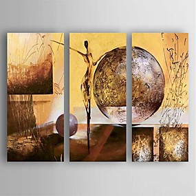 cheap Multi Panel Art-Oil Painting Hand Painted - Abstract Modern Stretched Canvas / Three Panels