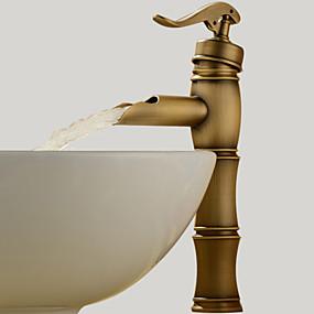 abordables Offres de la Semaine-Robinet lavabo - Jet pluie Laiton Antique Vasque 1 trou / Mitigeur un trouBath Taps
