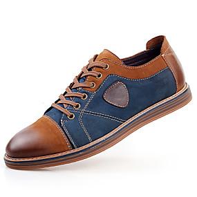 voordelige Wijdere maten schoenen-Heren Leren schoenen Leer Lente / Herfst Brits Oxfords Anti-slip Bruin / Grijs / Veters / Comfort schoenen