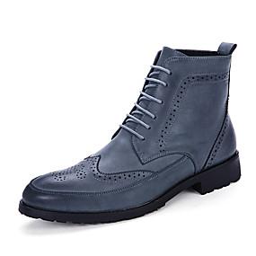 baratos Botas Masculinas-Homens Sapatos Confortáveis Couro Outono / Inverno Negócio Botas Antiderrapante Botas Cano Médio Preto / Azul / Marron / Cadarço / Fashion Boots / Curta/Ankle