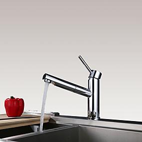levne Výsuvný rozprašovač-Kuchyňská vodovodní baterie - Single Handle jeden otvor Pochromovaný Pull-out / Pull-down Tezgah Üstü tradiční Kitchen Taps / Mosaz