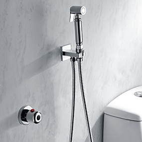 cheap 70% OFF-Shower Faucet - Contemporary / Modern Chrome Shower System Brass Valve Bath Shower Mixer Taps / Single Handle Two Holes