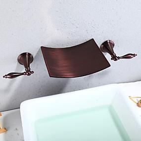 billige Ugentlige tilbud-Baderom Sink Tappekran - Foss / Utbredt Olje-gnidd Bronse Vægmonteret To Håndtak tre hullBath Taps / Messing