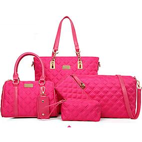 preiswerte Taschensets-Damen Taschen Nylon Bag Set 5 Stück Geldbörse Set Niete Solide Purpur / Fuchsia / Blau