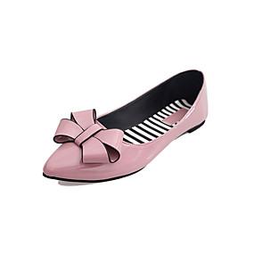 abordables Chaussures Plates pour Femme-Femme Polyuréthane Printemps Confort Ballerines Marche Talon Plat Bout pointu Noeud Rouge / Vert / Rose