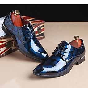 cheap Men's Oxfords-Men's Printed Oxfords Patent Leather Spring / Fall Oxfords Red / Blue / Light Brown / Party & Evening