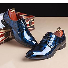 halpa Miesten Oxford-kengät-Miesten Oxfords-painatus Kiiltonahka Kevät / Syksy Oxford-kengät Vaalean ruskea / Punainen / Sininen / Juhlat / Juhlat / ulko- / Comfort-kengät / EU40