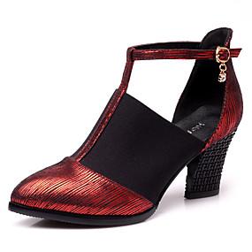 billige Moderne sko-Dame Moderne sko Syntetisk Sandaler / Joggesko Spenne Tykk hæl Kan ikke spesialtilpasses Dansesko Gull / Svart / Rød