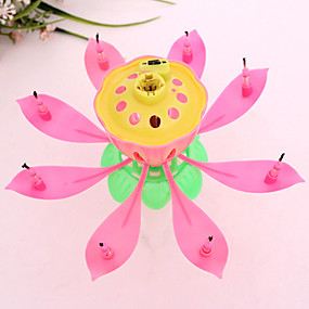 Musical Lotus Flower Candles Happy Birthday Candle For Party Gift Lights Decoration