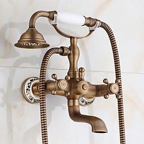 cheap Home Improvement-Bathtub Faucet - Antique / Traditional Antique Copper Centerset Ceramic Valve Bath Shower Mixer Taps / Two Handles Two Holes