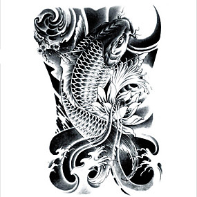 cheap Sleeve Tattoos-lc2814-21-15cm-3d-large-big-tatoo-sticker-sketch-black-golden-fish-drawing-designs-cool-temporary-tattoo-stickers