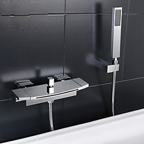 cheap Bathtub Faucets-Bathtub Faucet - Contemporary Chrome Tub And Shower Ceramic Valve Bath Shower Mixer Taps / Two Handles Two Holes