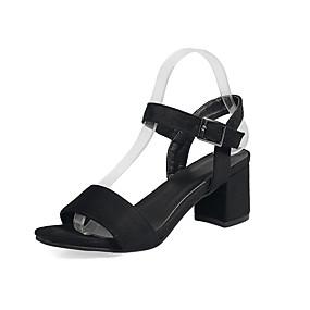 cheap Women's Sandals-Women's Block Heel Sandals Leatherette Spring / Summer Sandals Chunky Heel Open Toe Black / Green