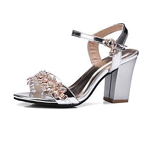 voordelige Wijdere maten schoenen-Dames Sandalen Kristal Sandalen Blokhak Ronde Teen Strass / Gesp PU Club Schoenen Zomer / Herfst Zwart / Zilver / Roze / Bruiloft