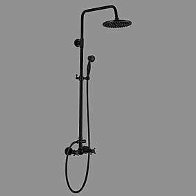 cheap Shower Faucets-Shower Faucet - Antique Oil-rubbed Bronze Centerset Ceramic Valve Bath Shower Mixer Taps / Brass / Two Handles Three Holes