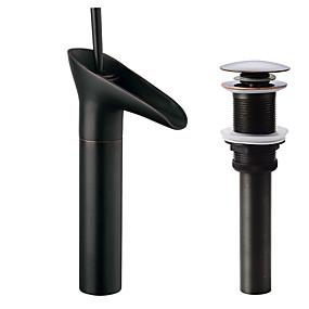 저렴한 특별 할인 및 프로모션-수도꼭지 세트 - 워터팔 오일럽된 브론즈 주방, 욕조수전(Centerset) 싱글 핸들 하나의 구멍Bath Taps