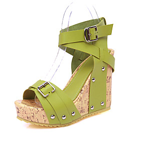 cheap Wedge Sandals-Women's Shoes PU(Polyurethane) Summer / Fall Comfort / Gladiator Sandals Walking Shoes Wedge Heel Open Toe Rivet / Buckle Beige / Yellow