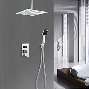 povoljno 80% SNIŽENO-Slavina za tuš - Zemlja Chrome Sustav za tuširanje Keramičke ventila Bath Shower Mixer Taps / Brass / Jedan ručku četiri otvora