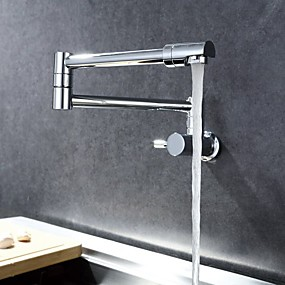 cheap Free Shipping-Kitchen faucet - Single Handle One Hole Chrome Pot Filler Wall Mounted Contemporary Kitchen Taps