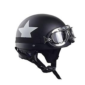 ราคาถูก โปรโมชั่นอุปกรณ์ตกแต่งรถยนต์กับฤดูร้อน-หมวกกันน็อครถจักรยานยนต์หมวกกันน็อครถจักรยานยนต์กับแว่นตาหมวกกันน็อคครึ่งคาร์บอนสีขาวดาวหมวกกันน็อค 55 เซนติเมตร -60 เซนติเมตรสำหรับฮาร์เลย์คาวาซากิ