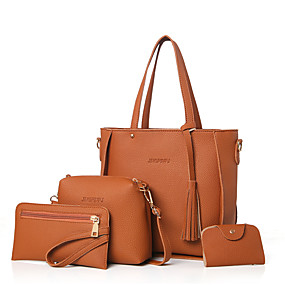 Women s Bags PU(Polyurethane) Bag Set 4 Pieces Purse Set Solid Colored  Blushing Pink   Gray   Brown   Bag Sets 8a672057e4