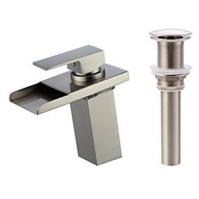 povoljno Miješalice Setovi-Set za slavinu - Waterfall / LED Nickel Brushed Središnje pozicionirane Jedan Ručka jedna rupaBath Taps