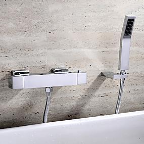 저렴한 특별 할인 및 프로모션-욕조 수전 - 콘템포라리 크롬 벽내장 도자기 발브 Bath Shower Mixer Taps / 황동 / 두 핸들 세 개의 구멍