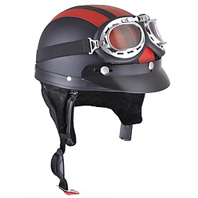 cheap Motorcyle Helmets-Motorcycle Helmet Open Face Visor Motocross Motor Helmets With Goggles Scarf Adjustable For Hare Retro Outdoor Cycling red