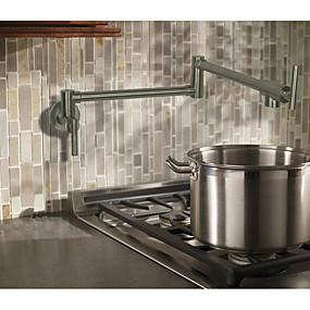 povoljno Kuhinjske slavine-Kuhinja pipa - Dvije ručke jedna rupa Nickel Brushed Pot Filler Središnje pozicionirane Suvremena / Art Deco / Retro / Moderna Kitchen Taps