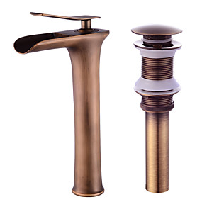 cheap 90% OFF-Faucet Set - Waterfall Antique Copper Centerset Single Handle One HoleBath Taps