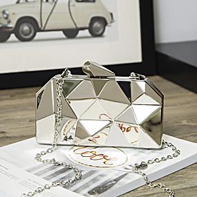 povoljno Clutch torbice-Žene Lanac Večernja torbica Legura Jednobojni Zlato / Sillver Gray