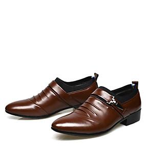 저렴한 남성용 옥스포드-남성용 구두 PU 봄 / 가을 사업 부츠 워킹화 결혼식 / 파티 / 이브닝 / 사무실 및 경력 용 리벳 / 스플리트 조인트 블랙 / 브라운 / 공식 신발 / Fashion Boots