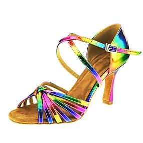 저렴한 신발 & 가방-여성용 가죽 라틴 슈즈 버클 / 크리스-크로스 샌달 큐반 힐 주문제작 가능 레인보우 / 성능 / EU41