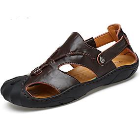 baratos Sandálias Masculinas-Homens Pele Verão Sandálias Caminhada Castanho Escuro / Amarelo Terra