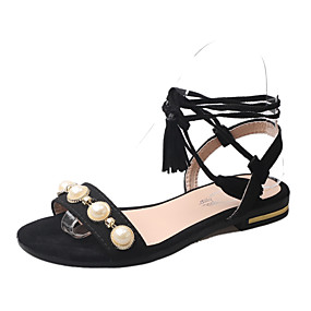 6e3ae1f9f34ac Women s Lace up PU(Polyurethane) Summer Comfort Sandals Walking Shoes Low Heel  Open Toe Buckle   Zipper Black   Red